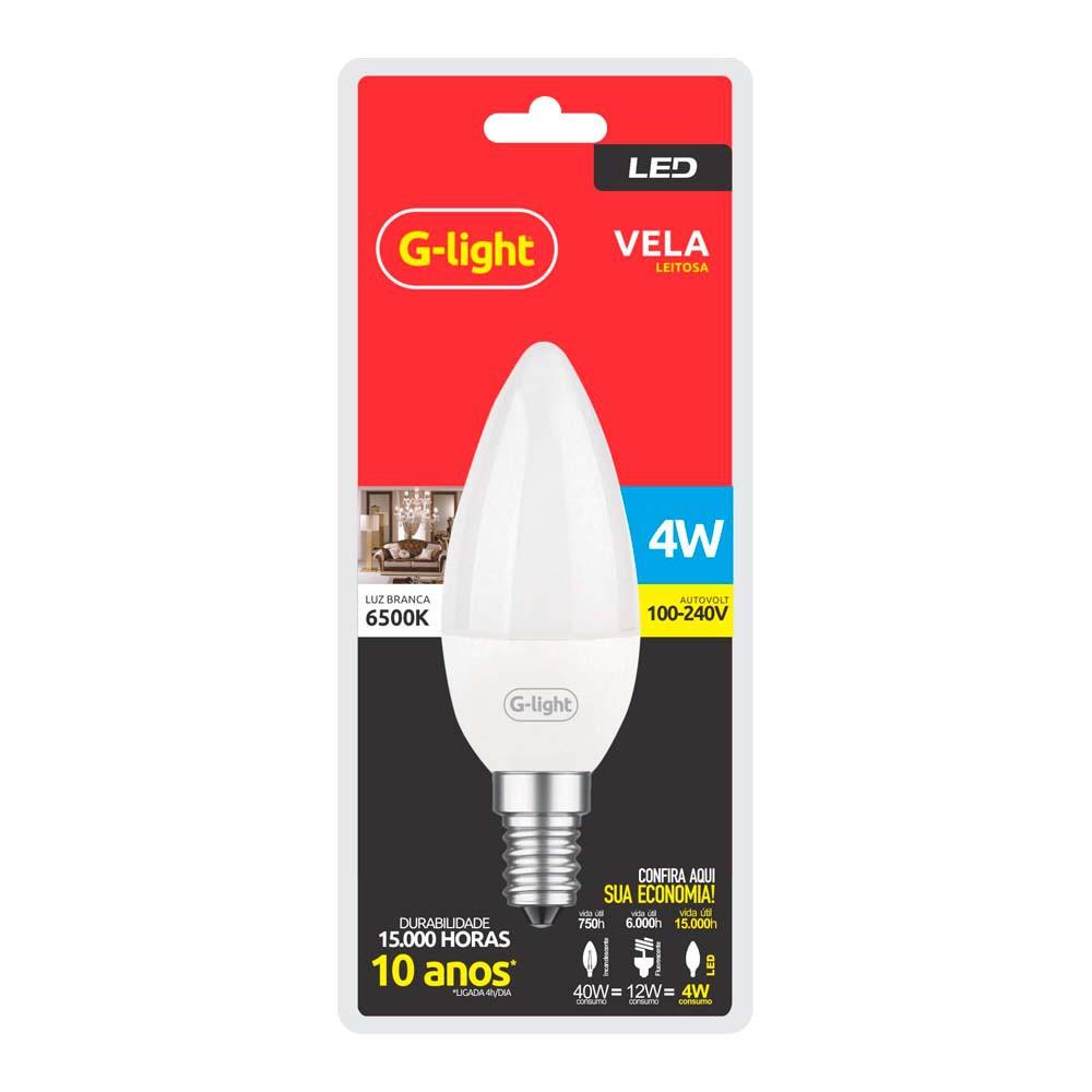 Lamp.Led Vela G-Light 4w Leitosa Bivolt ***Branca