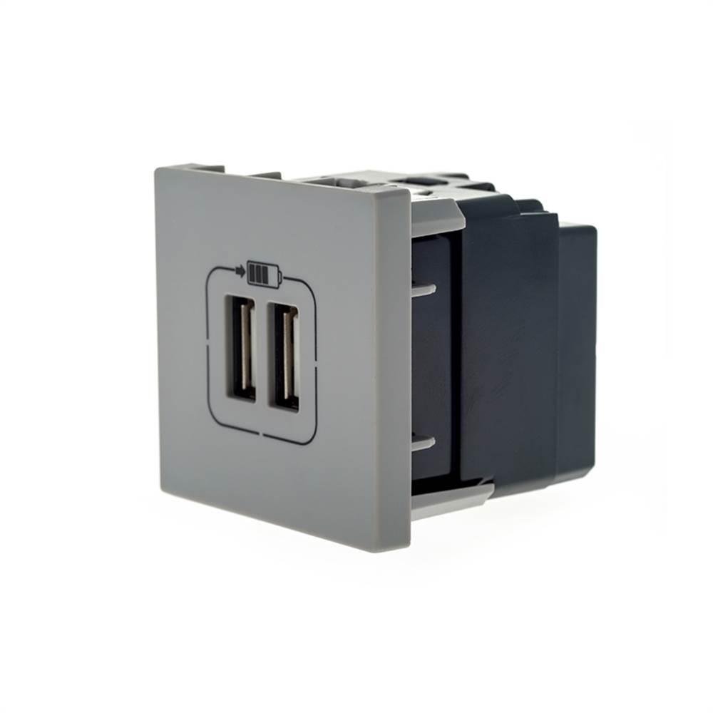Modulo Plus+ 2x Usb Carregador 2400ma Cinza