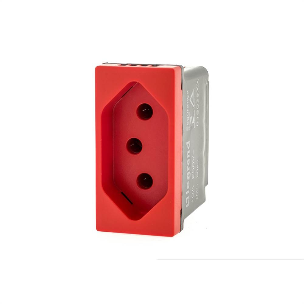 Modulo Plus+ Tomada 2p+T 10a B.Aut. Vermelha