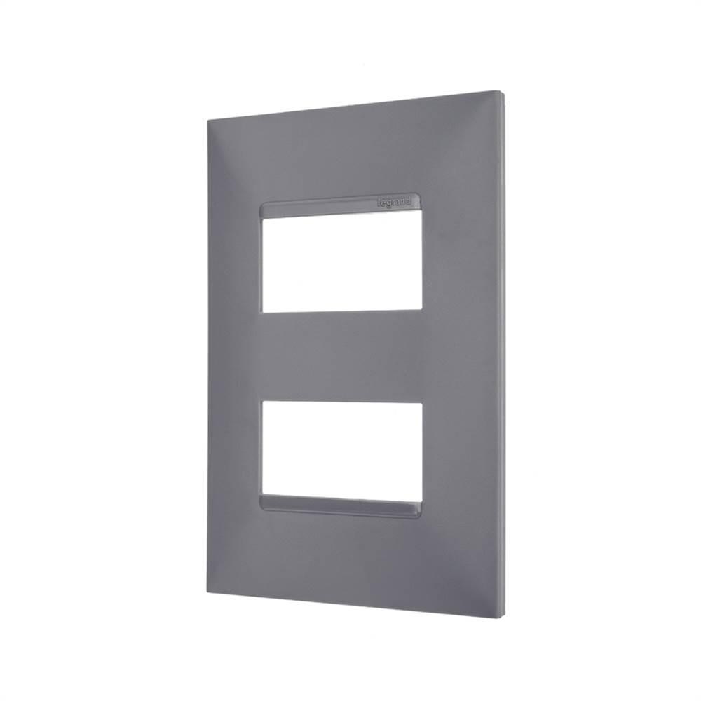 Placa Plus+ 2 Modulo Separados 4x2 Cinza