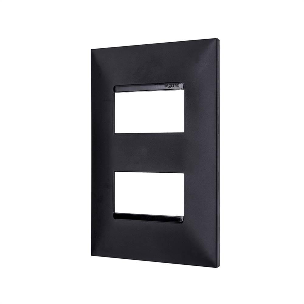 Placa Plus+ 2 Modulo Separados 4x2 Preta