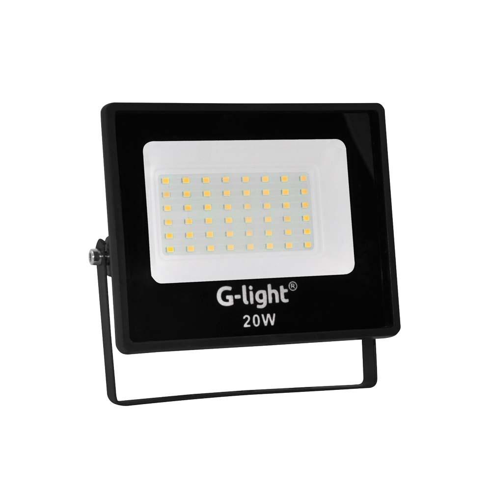 Refletor Led Smd Prof 20w 6500k G-Light Preto