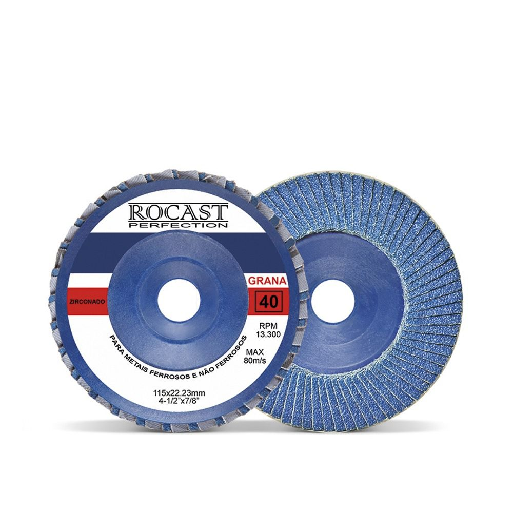Disco De Lixa Flap Disc 115 X 22 Mm Grão 40 - Zirconado