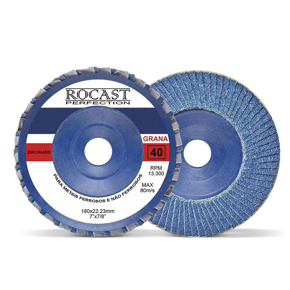 Disco De Lixa Flap Disc 180 X 22 Mm Grão 40 - Zirconado