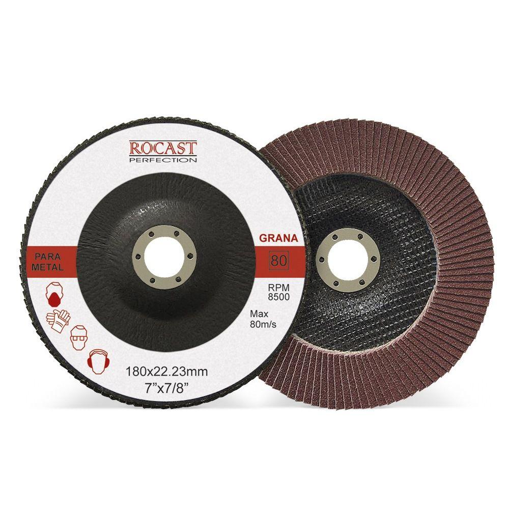 Disco De Lixa Flap Disc 180 X 22 Mm Grão 80