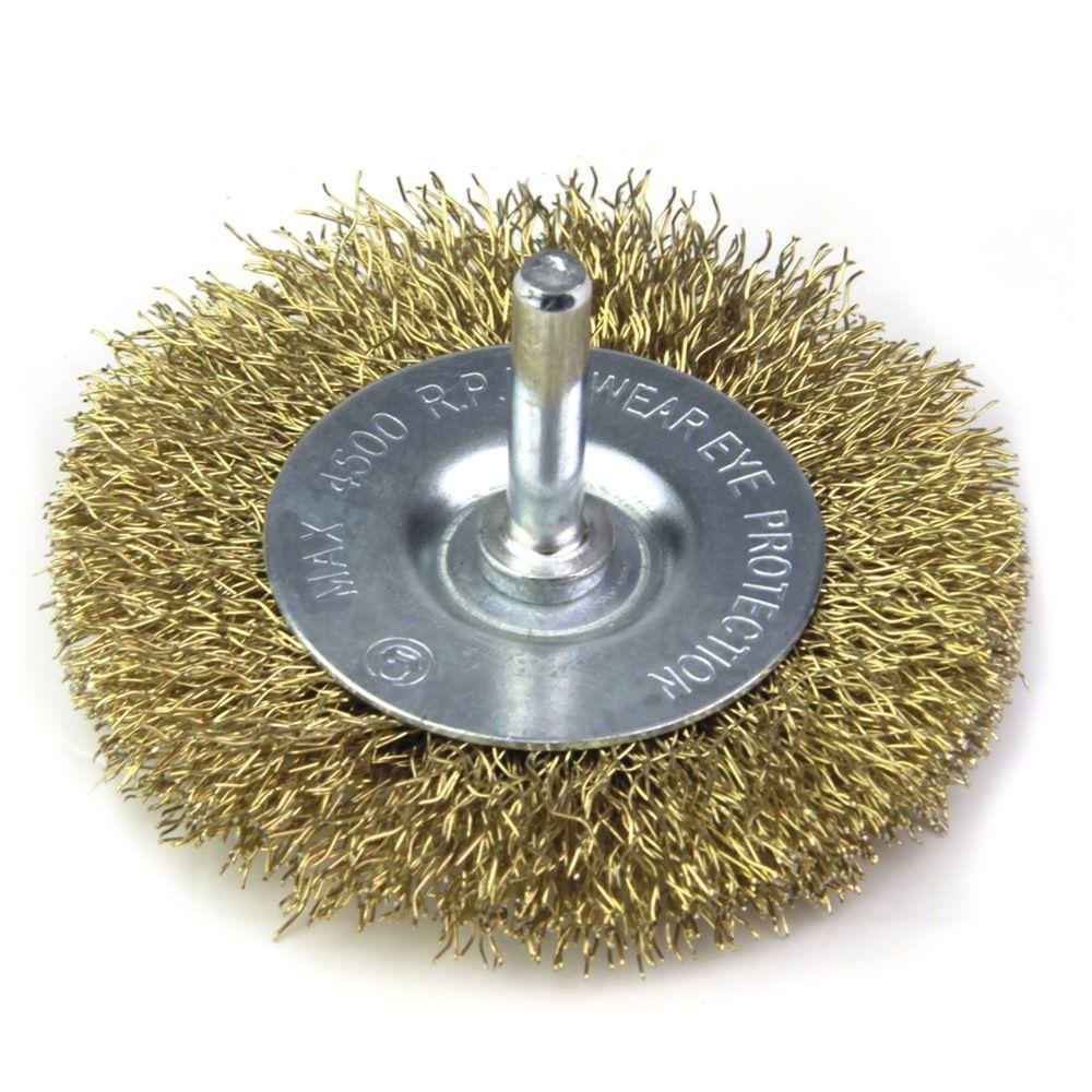 Escova De Aço Circular Com Haste Latonada 50 X 8