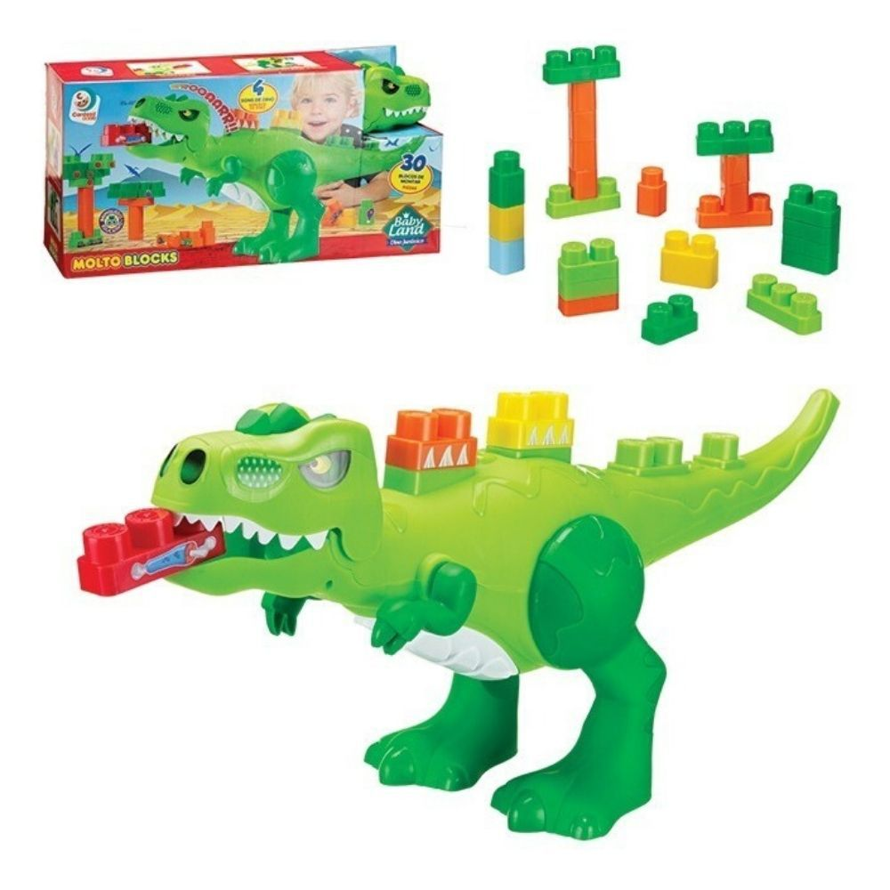 Bloco Cardoso Baby Land Dino Jurassic 30 Peças 8001