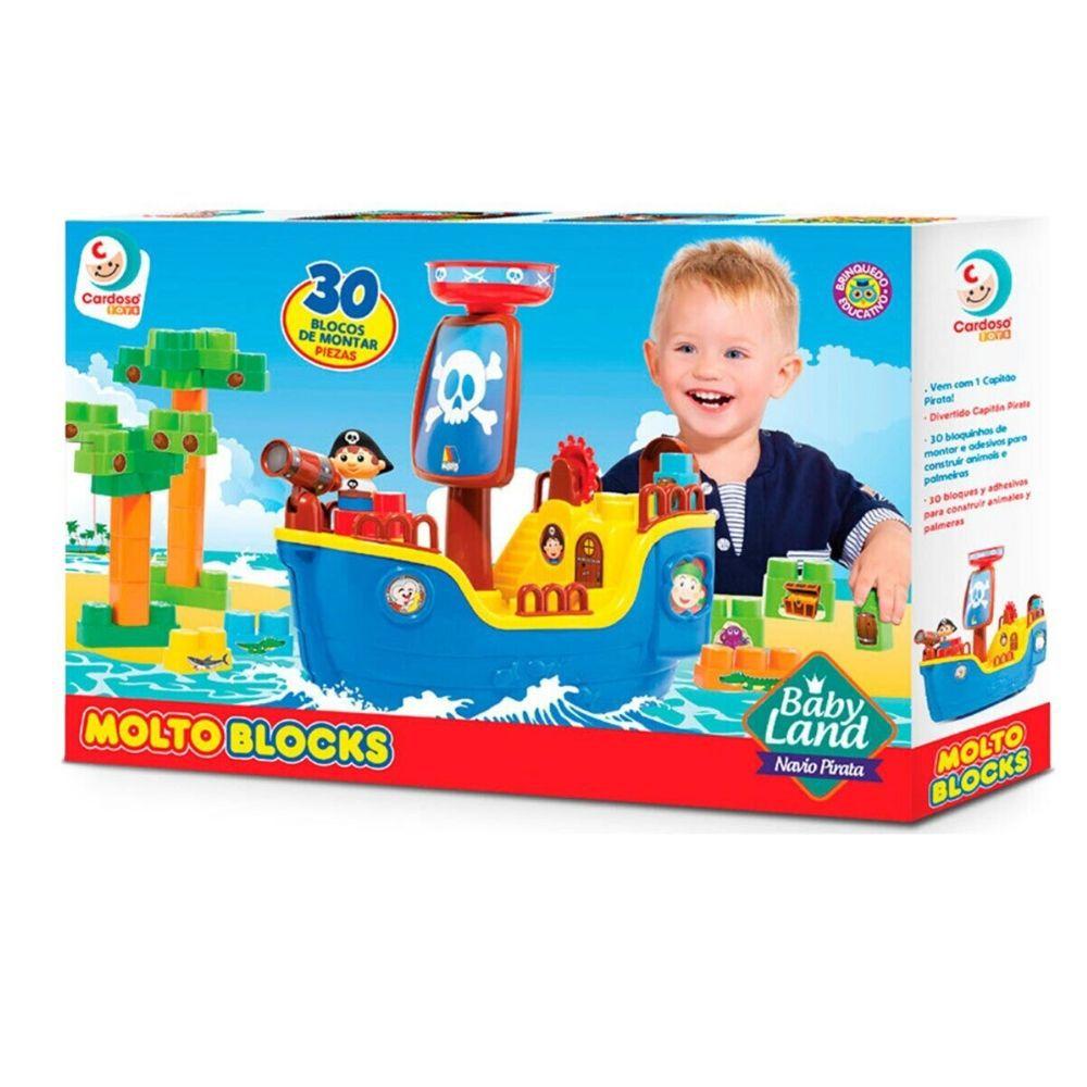Bloco Cardoso Baby Land Navio Pirata 30 Peças 8002