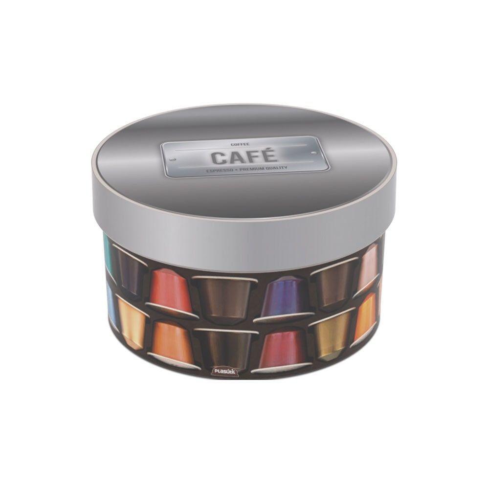 Caixa Redonda Decorada Capsula Cafe 1,5 L Plasutil 857