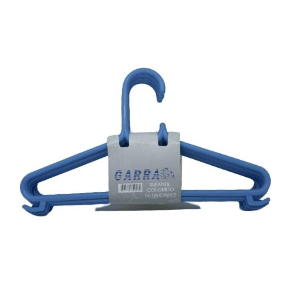 Conjunto Cabide Infantil Plástico 6 Peças Azul Cabimax