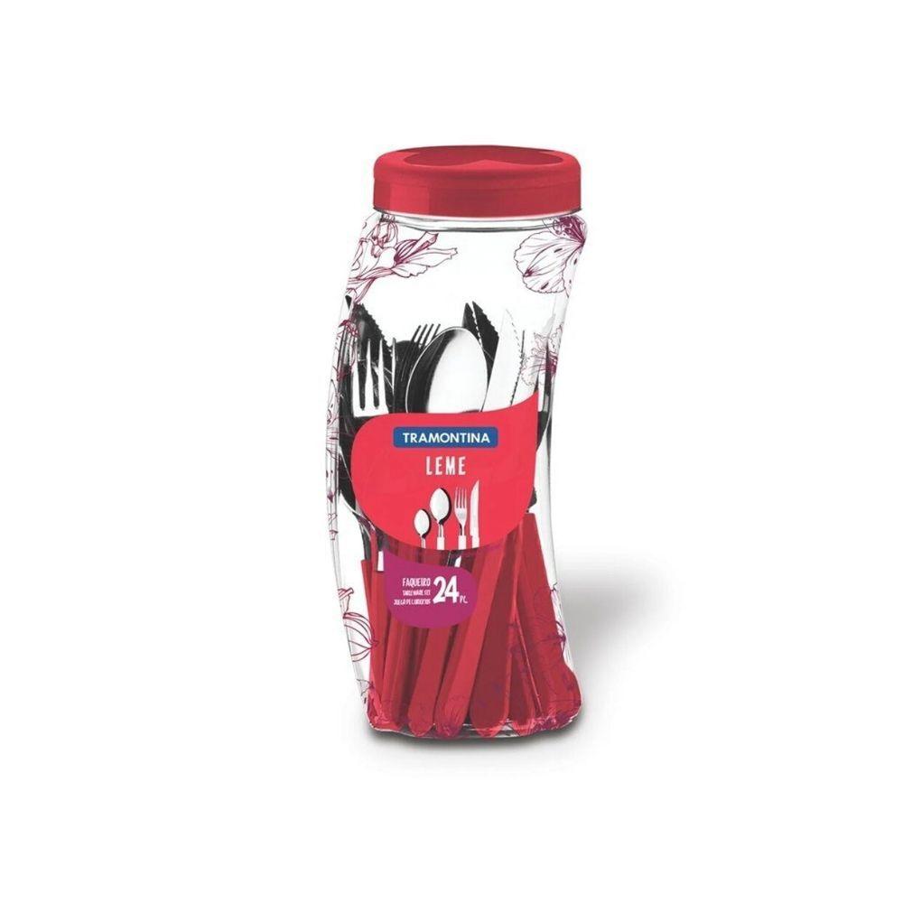 Faqueiro Leme Vermelho 24 Peças Inox 23198731 Tramontina