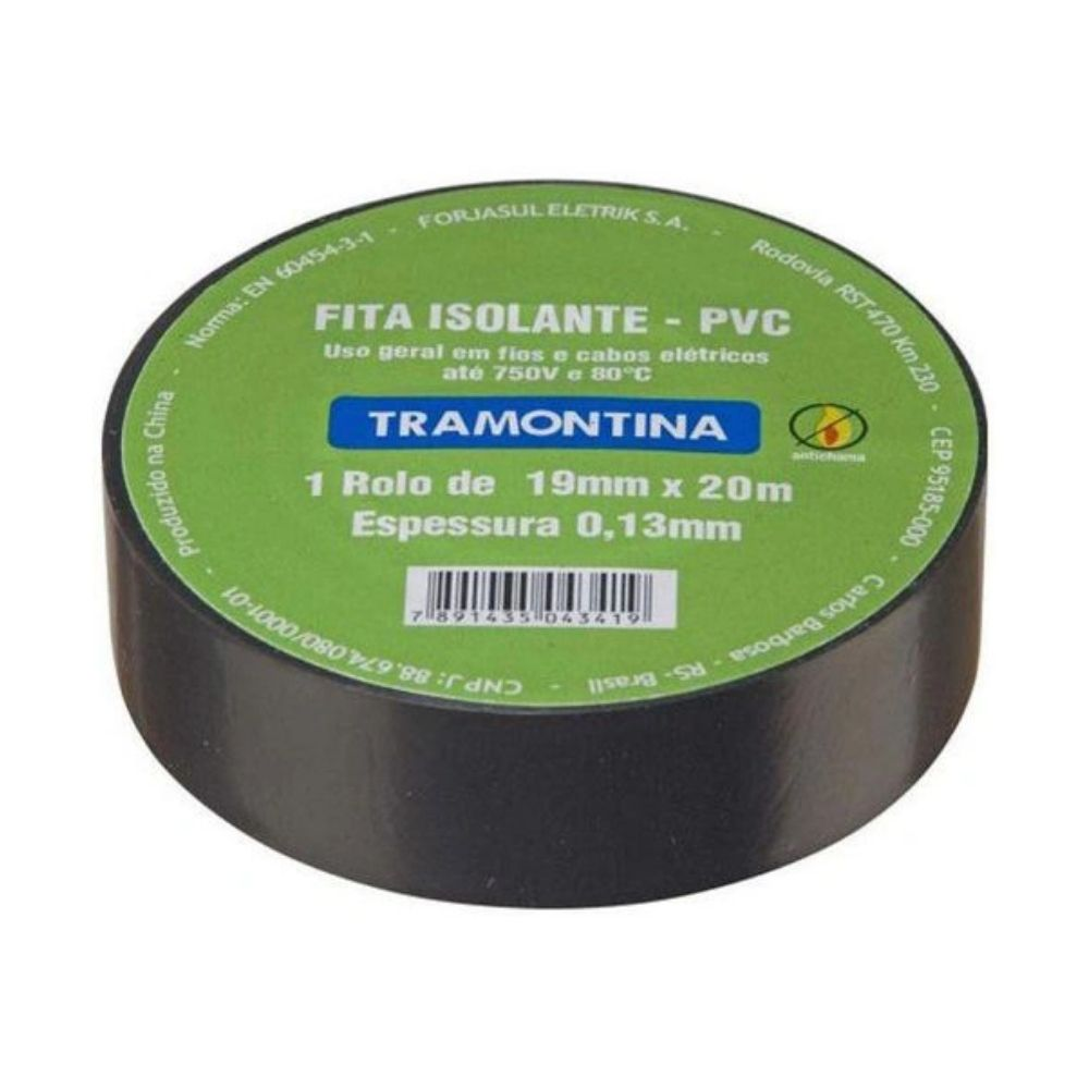 Fita Isolante Tramontina Preta 19X20M 57540/020