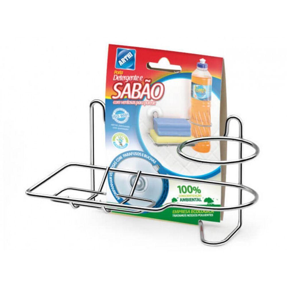 Porta Detergente Arthi Ventosa Cromado 1153