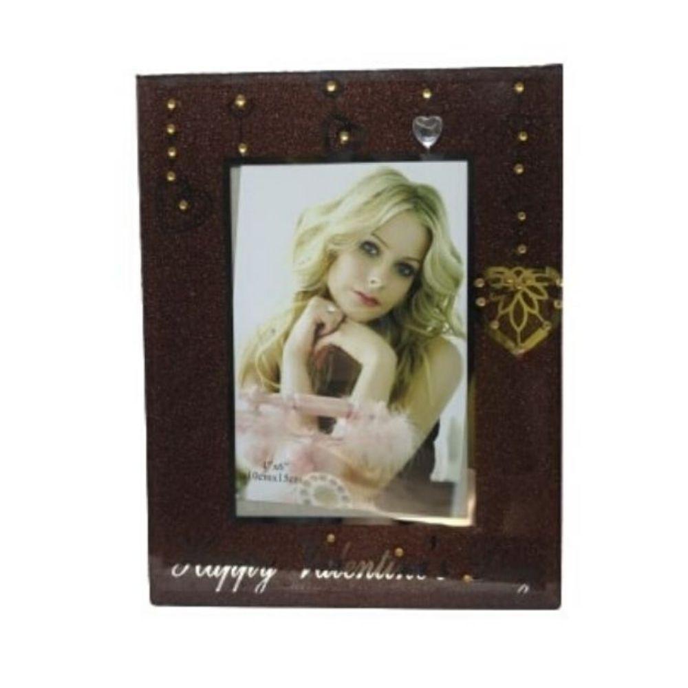 Porta Retrato Vidro Dia Dos Namorados Importado 10X15Cm