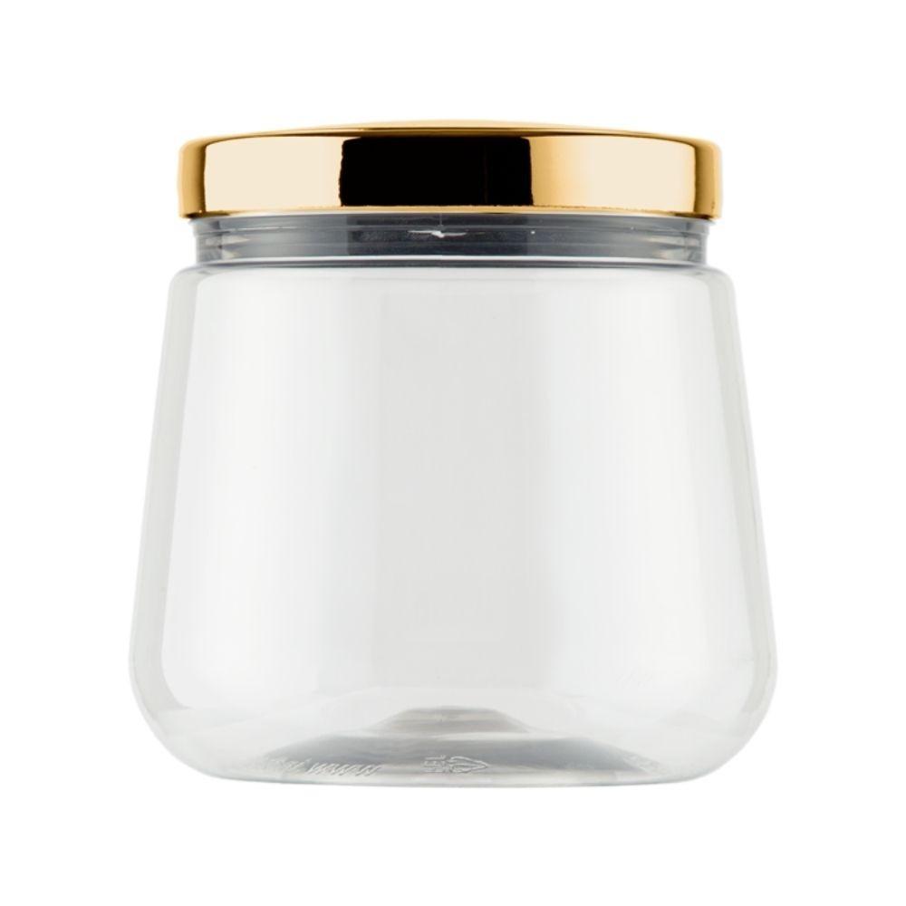Pote Transparente Redondo Tampa Metalizada Dourada 1.2 Litros Bandeirante 3101