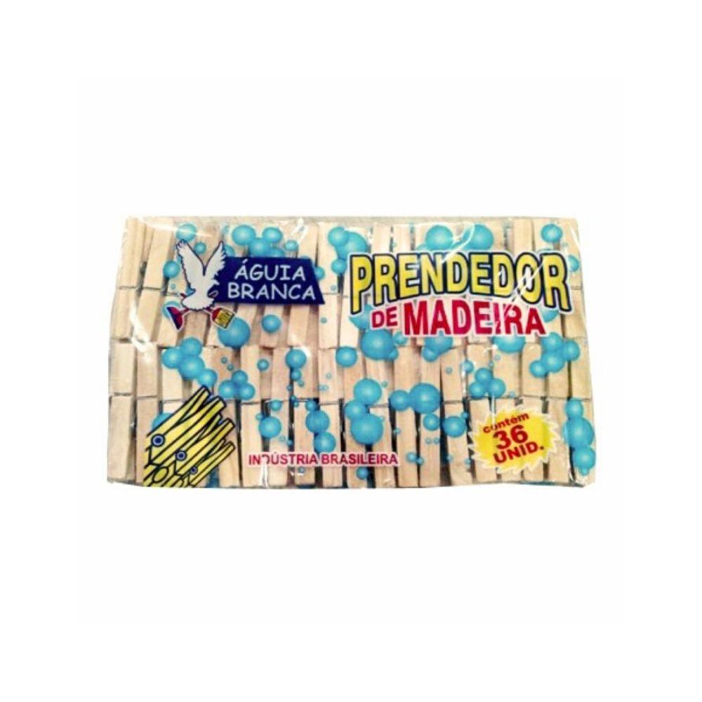 Prendedor Roupa Madeira 36 Unidades Águia Branca 320