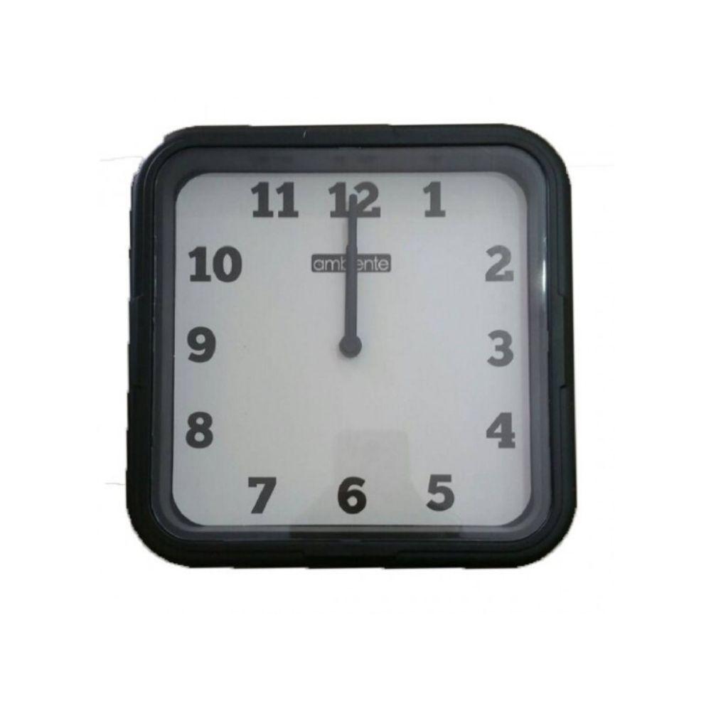 Relógio Parede Quadrado Fundo Branco Borda Preta 1912-145 Ambiente
