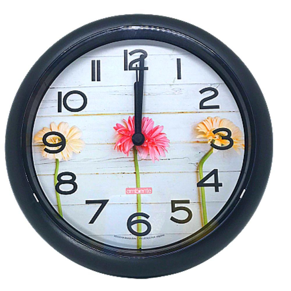 Relógio Parede Redondo Decorado Borda Preto 119010-034 Ambiente