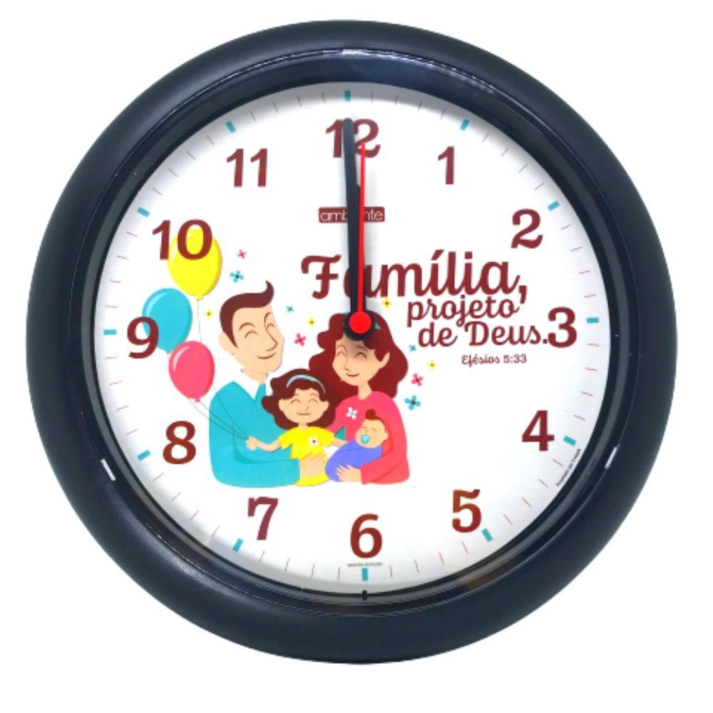 Relógio Parede Redondo Decorativo Família Borda Pt 199200-034 Ambiente