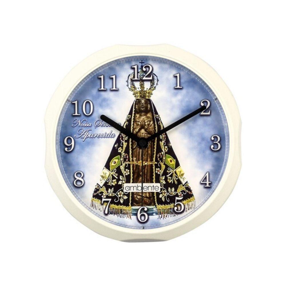 Relógio Parede Redondo Decorado Santo Borda Preta 191400-034 Ambiente