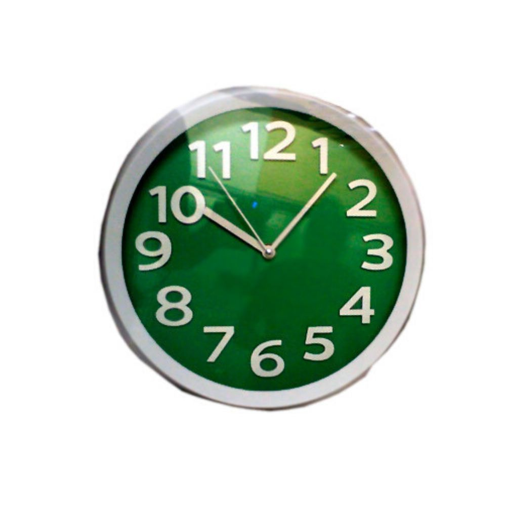 Relógio Parede Redondo Verde Oliva Borda Branca 197600-305 Ambiente