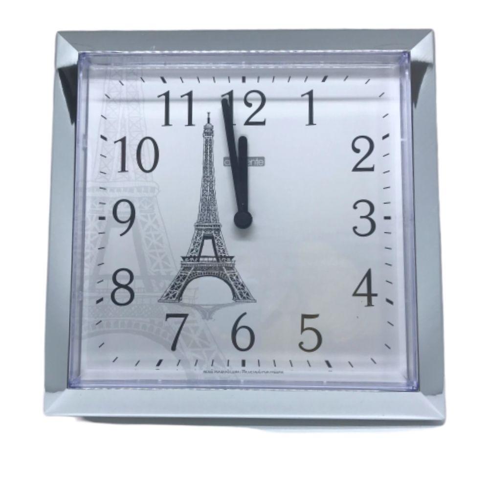 Relogio Parede Quadrado Paris Cromado Liso Ambiente 119020-028