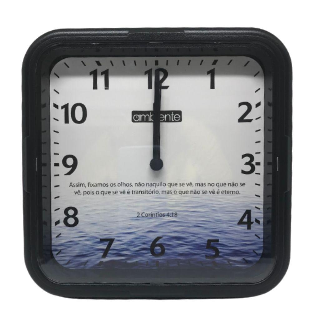 Relógio Parede Quadrado Versículo Ambiente Real Preto 1923-145