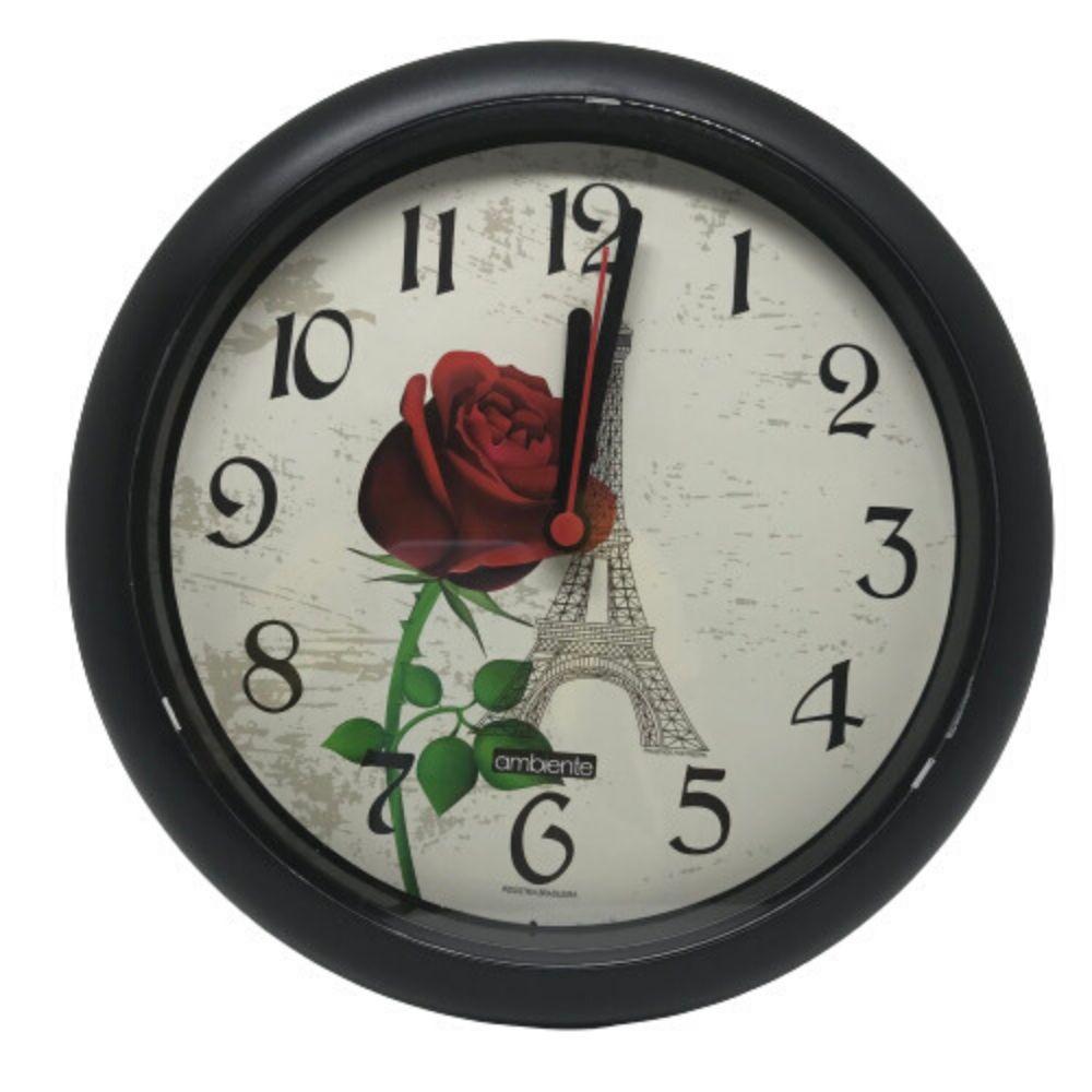 Relógio Parede Redondo Decorado Borda Preto 198300-034