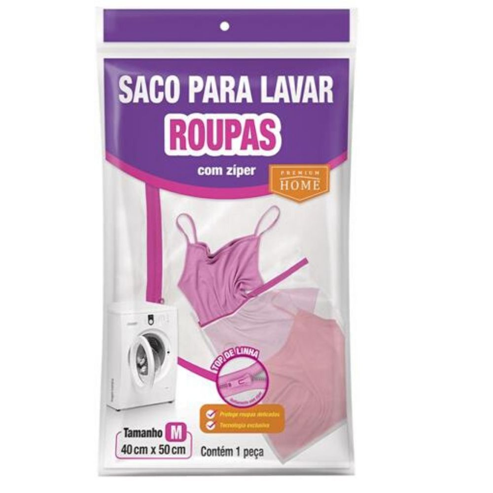 Saco Lavar Roupa Ziper 40X50Cm Plastleo 432