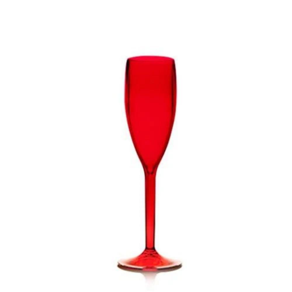 Taca Vidro Champagne Vermelha 170Ml Ns293123