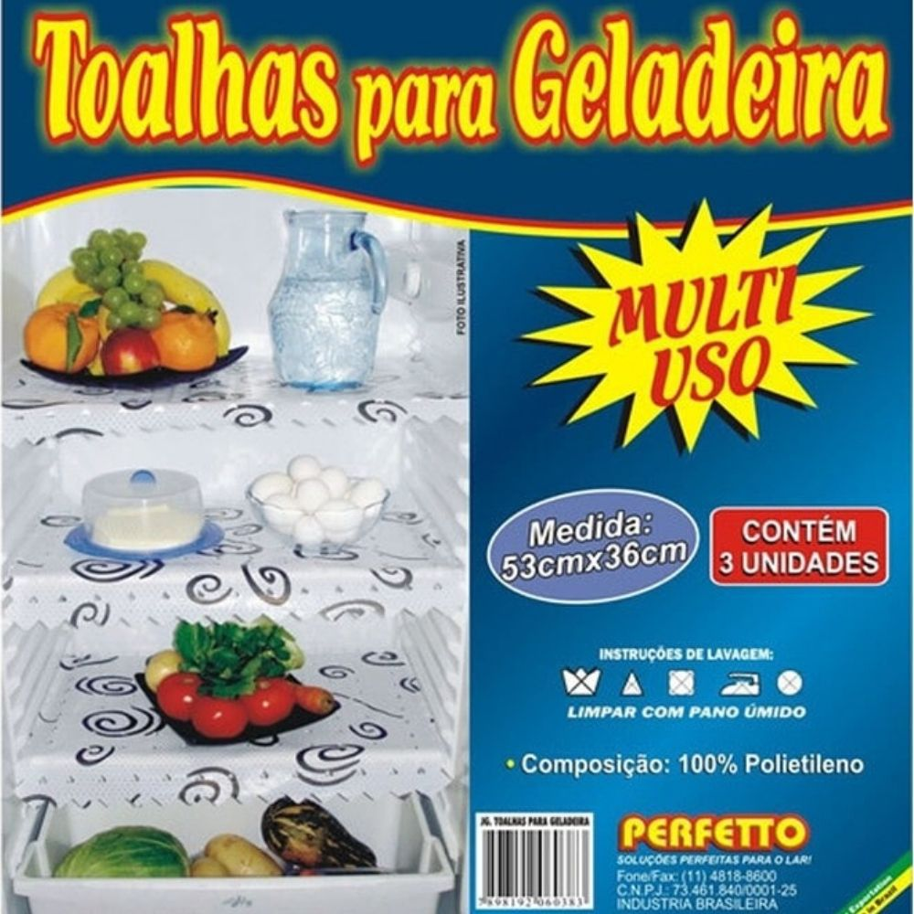 Toalha Geladeira 53X36Cm 3 Peças Perfetto 0038
