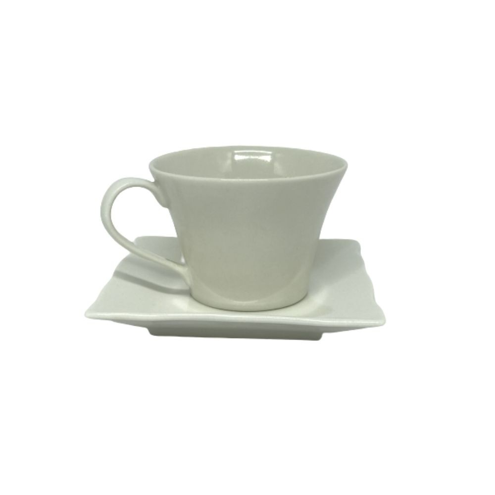 Xícara Porcelana C/Pires Bege Ind 94201