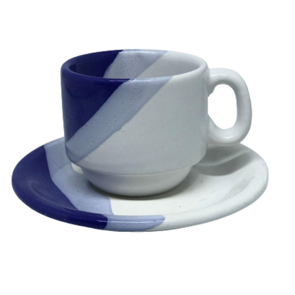 Xícara Porcelart Pires Chá Branco Azul 609