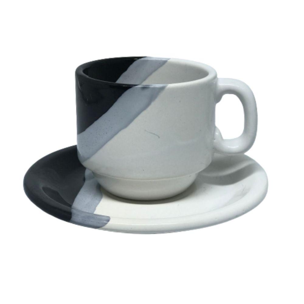 Xícara Porcelart Pires Chá Branco Pt 609