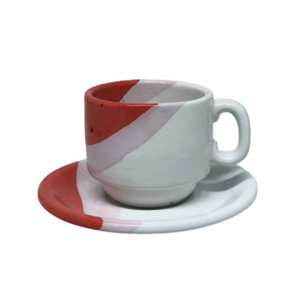 Xícara Porcelart Pires Chá Branco Vermelho 609