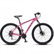 Bicicleta Colli Aluminio Aro 29 Freio Disco Kit Shimano Altus 24 Marchas Rosa Neon