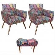 Kit 02 Poltrona Decorativa Nina com rodapé e Puff retangular Mosaico - Bela Casa Shop