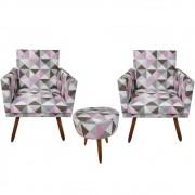 Kit 02 Poltrona Decorativa Nina com rodapé e Puff Triângulos rosa - Bela casa Shop