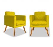 Kit 02 Poltronas Decorativa Charlote Suede Amarelo c Rodapé