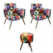 Kit 02 Poltronas Decorativa Nina com rodapé e Puff redondo Triângulos - Bela Casa Shop