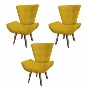 Kit 03 Poltronas Decorativa Diana Suede Amarelo