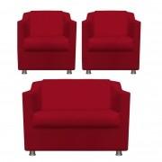 Kit 2 Poltrona com Namoradeira Decorativa Tilla Suede Vermelho