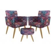 Kit 2 Poltronas Decorativa com rodapé  e 1 Puff Redondo Nina Mosaico - Bela Casa Shop