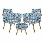 Kit 2 Poltronas Decorativa com rodapé  e 1 Puff Redondo Nina Triângulo Azul- Bela Casa Shop