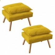 Kit 2 Puff's Decorativo Opala Plus Amarelo