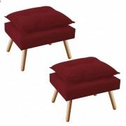 Kit 2 Puff's Decorativo Opala Plus Vermelho