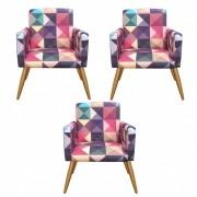 Kit 3 Poltronas Decorativa Nina Triângulos - Bela Casa Shop