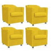 Kit 4 Poltronas Decorativa Tilla Suede Amarelo