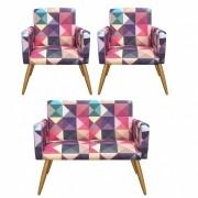 Kit Namoradeira Decorativa e 2 Poltrona Nina Triângulos - Bela Casa Shop