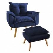 Kit Poltrona Decorativa Opala Plus com Puff Azul Marinho